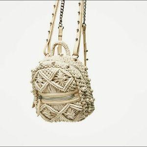 ZARA Macrame Mini Backpack In Cream!